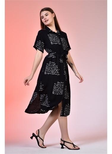 Rodi Jeans Kadın Gömlek Yaka Love Baskılı Elbise DS21YB112196 Siyah